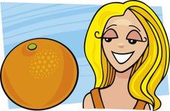 fruktflickaorange stock illustrationer