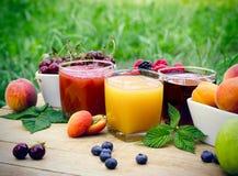 Fruktfruktsaft - sunda drinkar (dryck) på tabellen Arkivbild