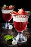 Fruktgelé i exponeringsglas Arkivfoto
