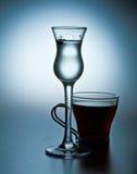 Fruktjuice och espresso i blått Royaltyfri Fotografi
