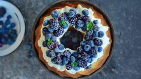 Fruktkaka med skogfrukter Royaltyfria Foton