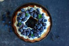 Fruktkaka med skogfrukter Royaltyfri Foto