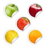Fruktklistermärke Arkivbild