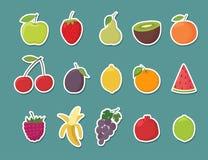 Fruktklistermärkeuppsättning den främmande tecknad filmkatten flyr illustrationtakvektorn vektor illustrationer