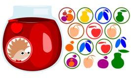 Fruktklistermärkeuppsättning Igelkottframsida med flugan, etikett Symboler av äpplet, päron, aprikos, plommon, mirabellekörsbär s Royaltyfria Bilder