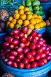 Fruktmarknad för öppen luft i byn Arkivbilder