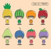Fruktmaskot Arkivfoton