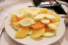 Fruktplatta, når att ha ätit Arkivfoton