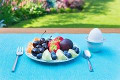 Fruktplatta på tabellen utanför i trädgård arkivbild