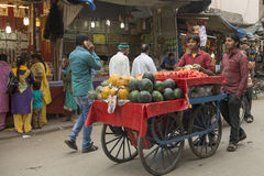 Fruktsäljare på den Ajmeer gatan Fotografering för Bildbyråer