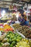 Fruktsäljare på Siem Reap Cambodja den våta marknaden Arkivfoto