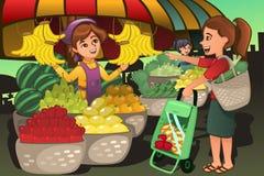 Fruktsäljaren på bönderna marknadsför med en kund vektor illustrationer