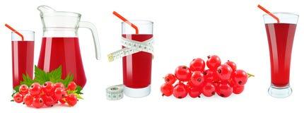 Fruktsaft av röda vinbär och metern Fotografering för Bildbyråer