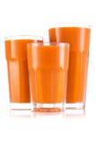 Fruktsaft i format tre av exponeringsglas royaltyfri fotografi