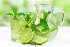 Fruktsaft med limefrukt och mintkaramellen Fotografering för Bildbyråer