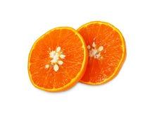 Fruktsaftapelsin på vit Arkivfoton