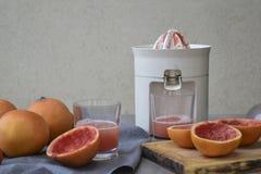 Fruktsaftutsugningsfläkt eller juicer och frukter på grå bakgrund royaltyfri foto