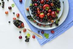 Fruktsallad med jordgubben, blåbäret, körsbäret, krusbäret och den svarta vinbäret på trägrå bakgrund Arkivfoton