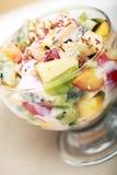 Fruktsallad med yoghurt royaltyfria bilder