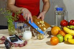 Fruktsallad, sund frukost, bantar, flickan, mat, frukt, vår arkivfoton