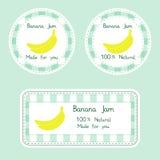 Fruktsamling för design Etiketter för hemlagad naturlig banan sitter fast i gräsplan- och gulingfärg Arkivbild