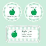 Fruktsamling för design Etiketter för hemlagat naturligt äpple sitter fast i grön färg Royaltyfri Fotografi
