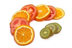 Fruktskivor på skärm Royaltyfria Foton