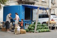 Fruktställning, Tbilisi, Georgia, Europa Fotografering för Bildbyråer