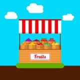 Fruktstall Uppsättning av askar med frukter och bär Stock Illustrationer