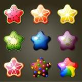 Fruktstjärnagodisar för lek för match tre royaltyfri illustrationer