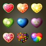 Fruktstjärnor för lek för match tre Arkivfoton