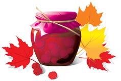 Fruktsylter i en glass krus stock illustrationer