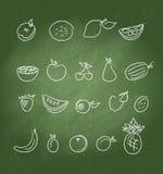 Fruktsymboler klottrar seten Royaltyfria Bilder