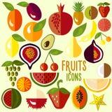 Fruktsymboler: vektoruppsättning av plan färgrik mat Arkivfoton