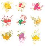 fruktsymbolsset Arkivfoto