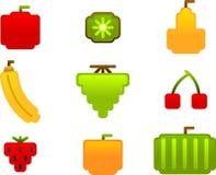 fruktsymbolsset Royaltyfri Bild