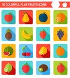 Fruktsymbolsuppsättning Färgrik mall för att laga mat, Arkivfoton