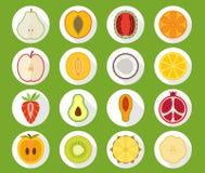 Fruktsymbolsuppsättning med lång skugga Arkivfoto
