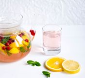 Fruktte med apelsinen, citronen och tranbär Tekanna med fruktapelsinen, citron, tranbär, mintkaramell Te för förkylningar Te för  royaltyfria foton