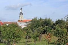 Fruktträdgård och St.-Trinitykyrka i Genthin, Tyskland Fotografering för Bildbyråer