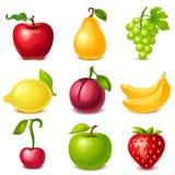 Fruktuppsättning vektor illustrationer