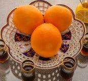 Fruktuppsättning av apelsinen Arkivfoto