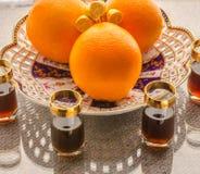 Fruktuppsättning av apelsinen Arkivbild