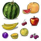 Fruktuppsättning av hand-dragit Royaltyfria Bilder