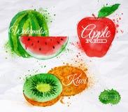 Fruktvattenfärgvattenmelon, kiwi, rött äpple Arkivfoto