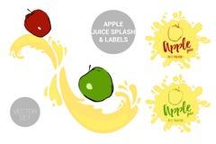 Fruktvektorpacken ställde in av tecknad film röda och gröna äpplen på fruktsaftfärgstänk r royaltyfri illustrationer