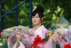 Fräulein Fuji auf Hauptstufeerscheinen Stockfotos