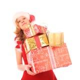 Fräulein Sankt trägt zu viele Geschenke Lizenzfreies Stockfoto