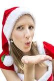 Fräulein Santa, das Ihnen einen Kuss schickt Lizenzfreie Stockbilder