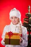 Fräulein Weihnachtsmann mit Weihnachtsgeschenk Lizenzfreie Stockfotografie